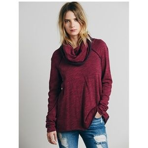 Free People Cowl Cocoon Burgundy Pullover OS